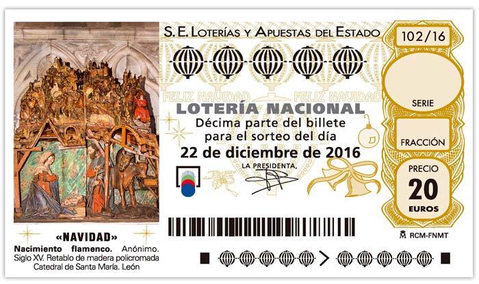 Decimo de la Lotería de Navidad 2016